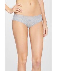 DKNY 'downtown' Lace Trim Cotton Bikini - Gray