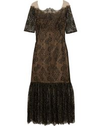 Notte by Marchesa Metallic Lace Dress - Lyst