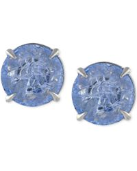 Vince Camuto - Silver-tone Crackle Stone Round Stud Earrings - Lyst