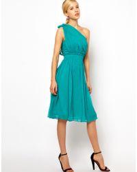 Mango Chiffon Drape One Shoulder Dress - Lyst
