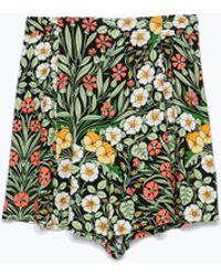 Zara Floral Shorts - Lyst