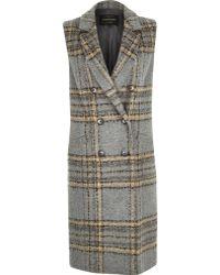 River Island Gray Check Wool-blend Sleeveless Jacket
