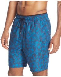 Calvin Klein Hibiscus Swim Trunks blue - Lyst
