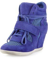 Ash Cool Mesh Suede Wedge Sneaker - Lyst