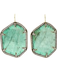 Sylva & Cie - Emerald Slice Earrings - Lyst