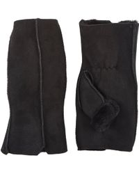 Barneys New York Shearling-Lined Fingerless Gloves - Lyst