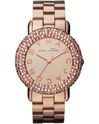 Marc By Marc Jacobs Marci Pave Crystal Rose Golden Analog Watch - Lyst