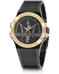 Maserati - Potenza Black And Gold Pvd Stainless Steel Unisex Watch - Lyst