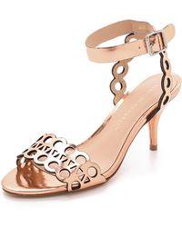 Loeffler Randall Opal Kitten Heel Sandals Copper - Lyst