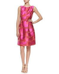 Lela Rose Metallic Space-Dyed Full-Skirt Dress - Lyst