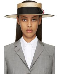 Thom Browne Beige Straw Boater Hat - Natural