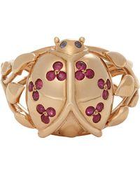 Aurelie Bidermann Ruby  Pink Gold Ladybug Ring - Lyst
