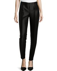 Carolina Herrera Shantung Straight-Leg Pants - Lyst