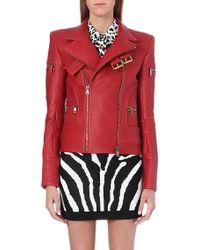Balmain Leather Biker Jacket Red - Lyst