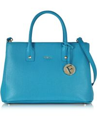 Furla | Linda Turquoise Saffiano Leather Satchel W/shoulder Strap | Lyst