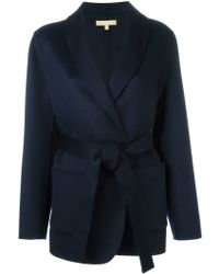 Michael Kors Belted Overcoat - Blue
