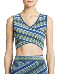 BCBGMAXAZRIA Madysyn Printed Cross-Front Cropped Top blue - Lyst
