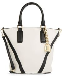 Calvin Klein Pebble Leather Bucket Bag white - Lyst