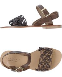 Fiorina Leather Flat Sandals - Brown
