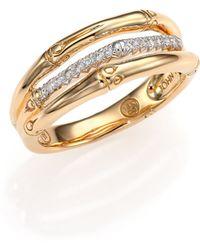 John Hardy Bamboo Diamond & 18K Yellow Gold Three-Row Ring - Lyst