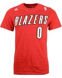 Adidas Mens Short-sleeve Damian Lillard Portland Trail Blazers Player T-shirt - Lyst
