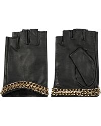 Karl Lagerfeld Chain-Embellished Leather Fingerless Gloves - Lyst