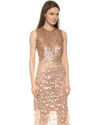 Rodarte Paillette Dress - Peach - Lyst