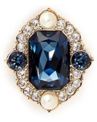 St. John 'Ornate' Swarovski Crystal Brooch - Blue