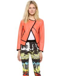 Cedric Charlier Faux Leather Jacket - Neon orange - Lyst