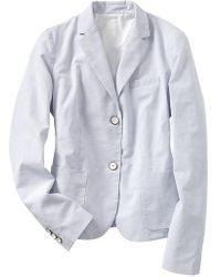 Gap Classic Mini-Stripe Dobby Blazer - Grey