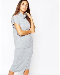 Warehouse - Square Funnel Neck Top - Grey - Lyst