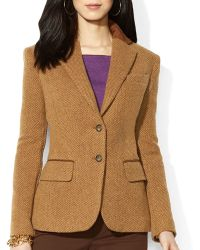 Ralph Lauren Lauren Suede Trim Tweed Blazer - Lyst