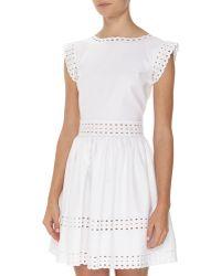 Valentino Scalloped Piqu 233 Dress In White White Black Lyst