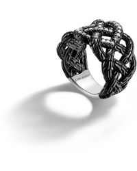 John Hardy Black Ruthenium Plating Band Woven Braided Ring - Lyst