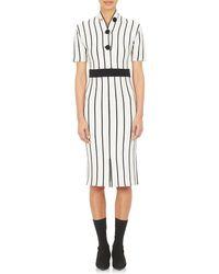 Balenciaga Fine-Striped Knit Sweaterdress white - Lyst