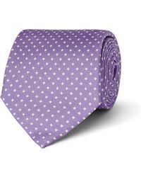 Emma Willis Printed Silk-twill Tie - Purple