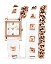 Vince Camuto White Studded Wrap Watch 21mm