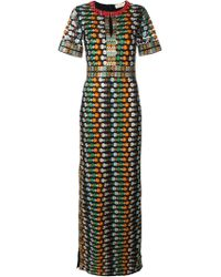 Tory Burch Round-Neck Floral Mesh Gown - Multicolor