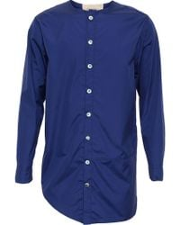 By Walid - Collarless Cotton Shirt - Lyst