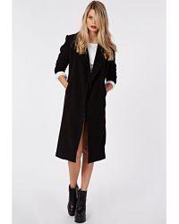 Missguided Khloe Oversized Premium Waterfall Coat Black - Lyst