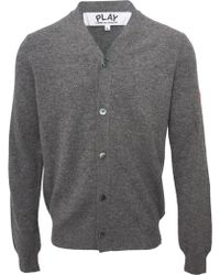 Comme Des Garçons Play Mens Small Red Heart Cardigan Grey - Lyst