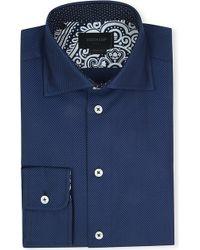 Duchamp Herringbone Singlecuff Cotton Shirt Navy - Lyst