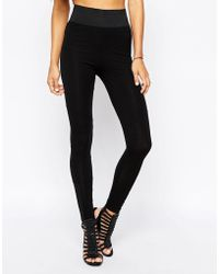 Asos High Waist Treggings With Skinny Waist black - Lyst