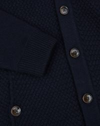 Ted Baker Textured Wool Cardigan - Blue