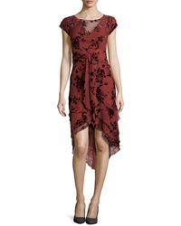 Zac Posen Floral-flocked Tiered Chiffon Dress - Lyst