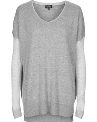 Topshop Double Layer Sheer Solid Sweat - Lyst
