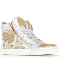 Giuseppe Zanotti London Vaky Off White Dragon Embroidered and Leather Hightop Sneaker - Lyst
