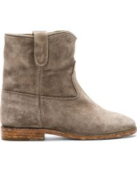 Isabel Marant Grey Suede Crisi Boots - Lyst