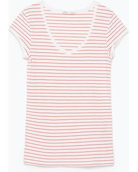 Zara Red Striped T-Shirt - Lyst