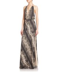 Haute Hippie Silk Python-Print Maxi Dress - Lyst